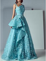 Недорогие -3d кружева с цветочным принтом платья выпускного вечера тафта бафф юбка случайные вечерние платья вечернее платье