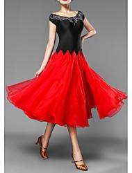 Недорогие -бальные танцы клубный костюм женские складки / сплит совместное выступление шапка рукав шифоновое платье 2020