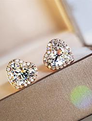 Недорогие -4 карата Синтетический алмаз Серьги Серебристый Назначение Жен. В форме сердца Дамы Стиль Роскошь Элегантный стиль Свадьба Вечерние Официальные Высокое качество Классический 2pcs