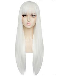 Недорогие -ГАГА ЛЕДИ Косплэй парики Жен. Прямая челка 26 дюймовый Термостойкое волокно Естественные прямые Белый Белый Аниме