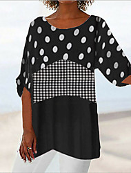 cheap -Women's Daily Casual Blouse - Polka Dot / Plaid / Check Print Black / Summer
