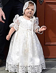 cheap -Princess Floor Length First Communion Christening Gowns - POLY Half Sleeve Jewel Neck with Lace / Bow(s) / Appliques
