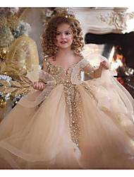 cheap -Ball Gown Sweep / Brush Train Wedding Flower Girl Dresses - Tulle Sleeveless V Neck with Pick Up Skirt / Pearls / Solid