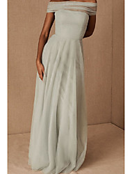 cheap -A-Line Off Shoulder Floor Length Tulle Bridesmaid Dress with Pleats / Bandage