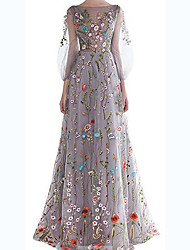 cheap -A-Line Floral Grey Wedding Guest Prom Dress Boat Neck 3/4 Length Sleeve Floor Length Tulle with Embroidery 2020