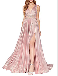 cheap -A-Line Minimalist Pink Wedding Guest Prom Dress V Neck Sleeveless Floor Length Stretch Satin with Pleats Crystals Split 2020