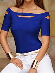 cheap -2020 Hot Sale T-shirts Women's T-shirt - Solid Colored Camisas Mujer Chemise Femme Fashion / Hollow Off Shoulder White L / Spring / Summer / Fall