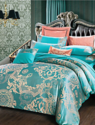 cheap -Luxury Bedding Sets Floral Duvet Cover Sets 4 Piece Satin Embroidery Duvet Cover Set Luxury European Neoclassical Style (1 Duvet Cover, 1 Flat Sheet, 2 Shams)