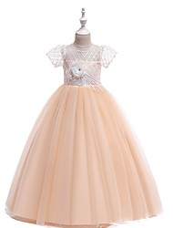 cheap -Ball Gown Round Floor Length Cotton Junior Bridesmaid Dress with Bow(s) / Appliques