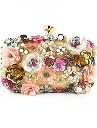 cheap -Women's Embossed Polyester Top Handle Bag Floral Print Gold