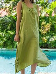 Недорогие -Жен. Большие размеры Ассиметричное Прямое Платье - Без рукавов Сплошной цвет Рюши Весна лето Квадратный вырез Классический Праздники Красный Желтый Тёмно-синий Светло-зеленый S M XL XXL XXXL XXXXL