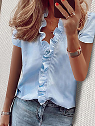 cheap -Women's Solid Colored Ruffle Puff Sleeve Shirt Daily Work V Neck White / Blue / Green
