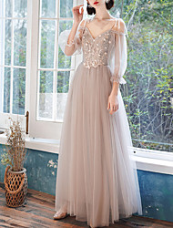 cheap -A-Line Plunging Neck Floor Length Tulle Bridesmaid Dress with Appliques / Illusion Sleeve / See Through