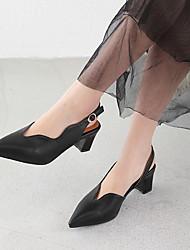 cheap -Women's Heels Chunky Heel Pointed Toe PU Summer Black / Beige