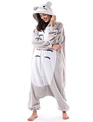 cheap -Adults' Camouflage Kigurumi Pajamas Nightwear Cat Totoro Animal Onesie Pajamas Coral fleece Gray Cosplay For Men and Women Animal Sleepwear Cartoon Festival / Holiday Costumes / Leotard / Onesie