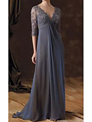 cheap -A-Line V Neck Sweep / Brush Train Chiffon Half Sleeve Elegant Mother of the Bride Dress with Pleats 2020