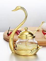Недорогие -высококачественные приправы для золотых и серебряных лебедей ретро-отель в стиле дворца роскошные сахарные банки одноразовые банки с ложкой