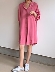 cheap -Women's Asymmetrical Shirt Dress - Long Sleeve Solid Color Shirt Collar Loose Blushing Pink One-Size
