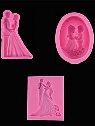 cheap -1pcs Groom And Bride Wedding Silicone Fondant Baking Mold Insert Card Decoration DIY