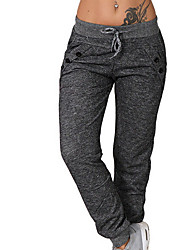 cheap -Women's Basic Loose Cotton Jogger Pants - Solid Colored Light gray Dark Gray S / M / L