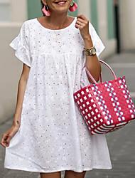 Недорогие -Жен. Свободный силуэт Платье - Без рукавов Сплошной цвет Белый S M L XL XXL