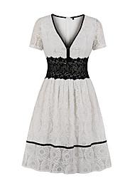 cheap -Women's A Line Dress - Short Sleeves Solid Color V Neck White S M L XL XXL / Cotton