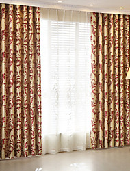 cheap -Two Panel American Country Style Red Jacquard Living Room Bedroom Blackout Curtains