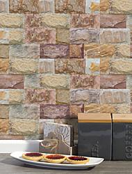 Недорогие -20x10cmx9pcs коричневый камень кирпичные стены стикеры ретро маслостойкие водонепроницаемые плитки обои для кухни ванная комната первый этаж украшения дома
