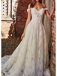 cheap -A-Line Wedding Dresses Off Shoulder Sweep / Brush Train Polyester Cap Sleeve Country Plus Size with Lace Insert Appliques 2020