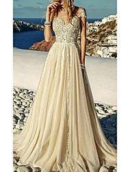 cheap -A-Line Wedding Dresses Sweetheart Neckline Sweep / Brush Train Polyester Short Sleeve Country Plus Size with Lace Insert Appliques 2020