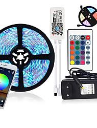Недорогие -2x5m Гибкие светодиодные полосы света Наборы света RGB TIKTK 2 * 300 светодиодов smd5050 9 мм 1 24Kys Пульт дистанционного управления / 1 х 12 В 3a адаптер / Wi-Fi контроллер 1
