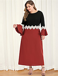 cheap -Women's Plus Size Maxi Black & Red A Line Dress - Long Sleeve Color Block Lace Patchwork Spring & Summer Fall & Winter Casual Elegant Daily Going out Flare Cuff Sleeve Loose Red L XL XXL XXXL XXXXL