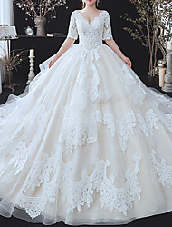 cheap -Ball Gown Wedding Dresses V Neck Watteau Train Lace Tulle Half Sleeve Formal Wedding Dress in Color with Ruffles Appliques 2020