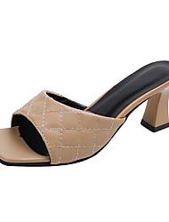 cheap -Women's Heels 2020 Chunky Heel Open Toe PU Classic / Minimalism Spring & Summer Red / Black / Beige / Party & Evening