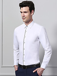 cheap -Men's Daily Work Business / Basic Shirt - Color Block / Solid Colored Black & White, Patchwork Blushing Pink