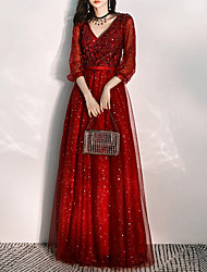 cheap -A-Line Elegant Red Wedding Guest Prom Dress V Neck 3/4 Length Sleeve Floor Length Tulle with Pleats Sequin Appliques 2020