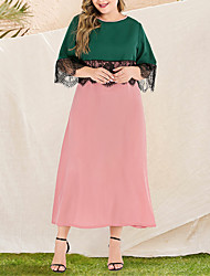 cheap -Women's Plus Size Maxi Black & Red A Line Dress - Long Sleeve Color Block Lace Patchwork Spring & Summer Fall & Winter Casual Elegant Daily Going out Flare Cuff Sleeve Loose Blushing Pink L XL XXL