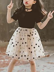 cheap -Kids Girls' Cute Street chic Patchwork Mesh Patchwork Print Short Sleeve Dress Black