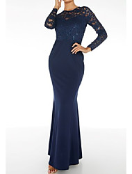 cheap -Mermaid / Trumpet Jewel Neck Floor Length Lace / Stretch Satin Bridesmaid Dress with Sequin / Ruching