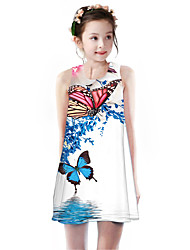 cheap -Kids Girls' Basic Cute Butterfly Plants Animal Cartoon Print Sleeveless Knee-length Dress White