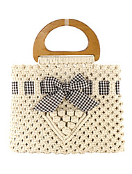cheap -Women's Hollow-out Polyester / Straw Top Handle Bag Straw Bag Solid Color White / Coffee / Fall & Winter