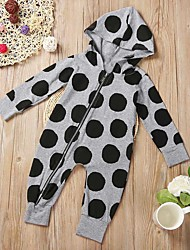 cheap -Baby Girls' Active Basic Polka Dot Print Long Sleeve Romper Gray