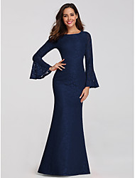 cheap -Mermaid / Trumpet Elegant Blue Wedding Guest Formal Evening Dress Boat Neck Long Sleeve Floor Length Lace with Sleek 2020 / Illusion Sleeve