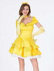 cheap -Princess Belle Dress Flower Girl Dress Women's Movie Cosplay A-Line Slip Cosplay Vacation Dress Yellow Dress Gloves Headwear Halloween Carnival Masquerade Tulle Polyester