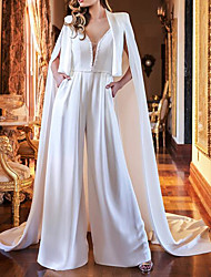 cheap -Two Piece Jumpsuits Wedding Dresses V Neck Sweep / Brush Train Polyester Sleeveless Country Plus Size with Crystals 2021