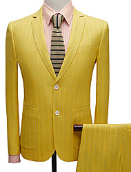 cheap -Tuxedos Tailored Fit Notch Single Breasted Two-buttons Polyester Stripes / Textured / Fashion
