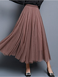 cheap -Women's Swing Skirts - Solid Colored Blushing Pink Dusty Rose White XS S M