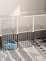 cheap -Dog Playpen Play House Fence Systems Foldable Washable Durable Free Standing Plastic Metal Black 16