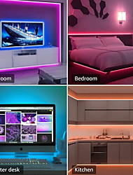 cheap -ZDM 10M(2*5M) LED Light Strips RGB Tiktok Lights Intelligent Dimming App Control Waterproof Flexible 5050 SMD 300 LEDs IR 24 Key Controller with Installation Package 12V 4A Adapter Kit
