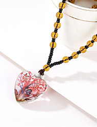 cheap -Women's Crystal Pendant Necklace Classic Flower Fashion Glass Purple Red Yellow Green 50 cm Necklace Jewelry For